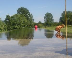 Fond mobile pour couloir de nage